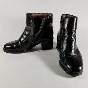Rieker Fleece Lined Black Leather Ankle Boots